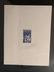 Afrique Occidentale Francaise #40 Proof in BLUE with the signature of the Artist