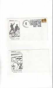 US  VAPEX 89 Virginia Beach, VA 1989 Two Stamp Show Covers
