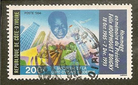 Ivory Coast    Scott 952a    President, Buildings     Used