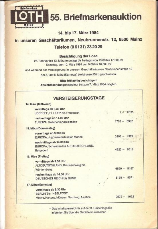 55. Loth-Briefmarken-Auktion: Internationale Briefmarkena...