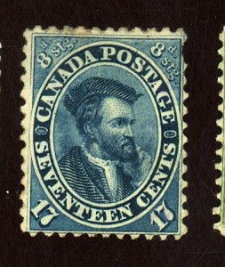CANADA #19 MINT FVF OG HR PULLED PERF Cat $1,250
