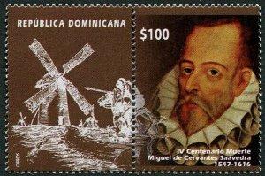 HERRICKSTAMP NEW ISSUES DOMINICAN REPUBLIC Sc.# 1604 Miguel De Cervantes