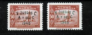 J26940 1946 colombia mh set #543-4 sports ovpt,s