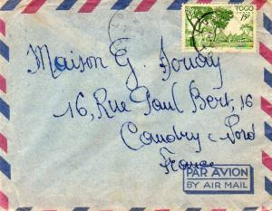 Togo 15F Houses of the Cabrals 1953 Lome R.P. Togo Airmail to Caudry, France....