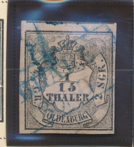 Oldenburg Stamp Scott #2, Used, Four Margins, Two Huge - Free U.S. Shipping, ...