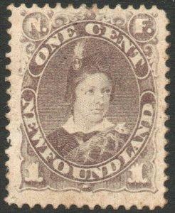 NEWFOUNDLAND-1880-82 1c Dull Grey-Brown Sg 44 AVERAGE MOUNTED MINT V46297