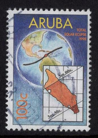 Aruba   #161   used  1998 total solar eclipse  100c