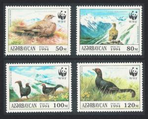 Azerbaijan Birds WWF Caucasian Black Grouse 4v SG#178-181 MI#161-164 SC#454 a-d
