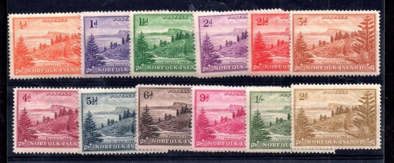 Norfolk Island 1947 Ball Bay mint LHM set SG1-12 WS11925