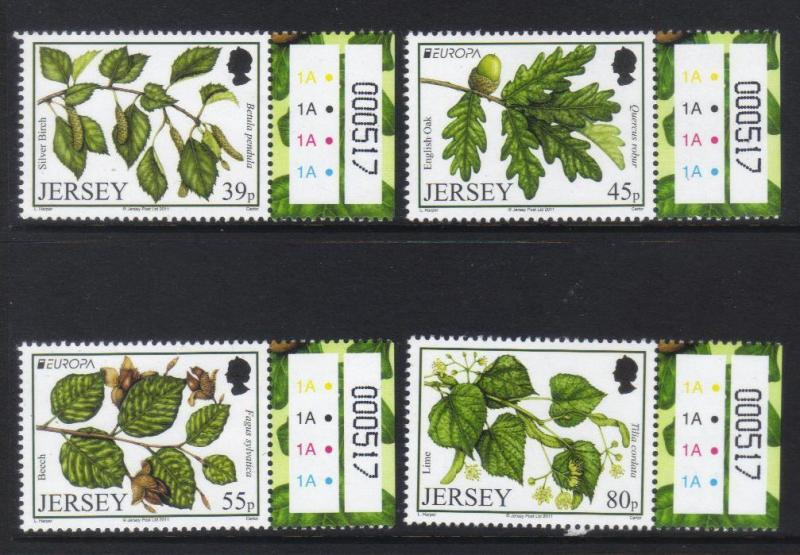 JERSEY 2011 EUROPA FORESTS MNH SET OF 4