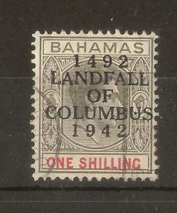 Bahamas 1942 1/- Columbus SG171 Variety Fine Used