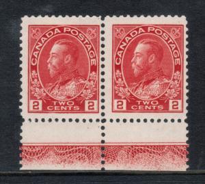 Canada #106 Mint Fine - Very Fine Never Hinged Lathework B Pair