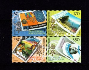 Macedonia  #352 (2005 Europa stamps block of four) VFMNH CV $50.00