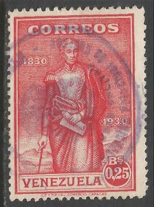VENEZUELA 292 VFU BOLIVAR K422-3