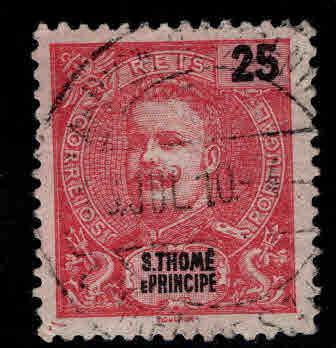 St. Thomas & Prince Islands  Scott 46 Used King Carlos 1898-1903 issue
