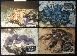 marshall islands 1986 WWF marine life 4 values maxicard superb used
