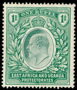 EAST AFRICA and UGANDA SG26, 1r green, LH MINT. Cat £29.