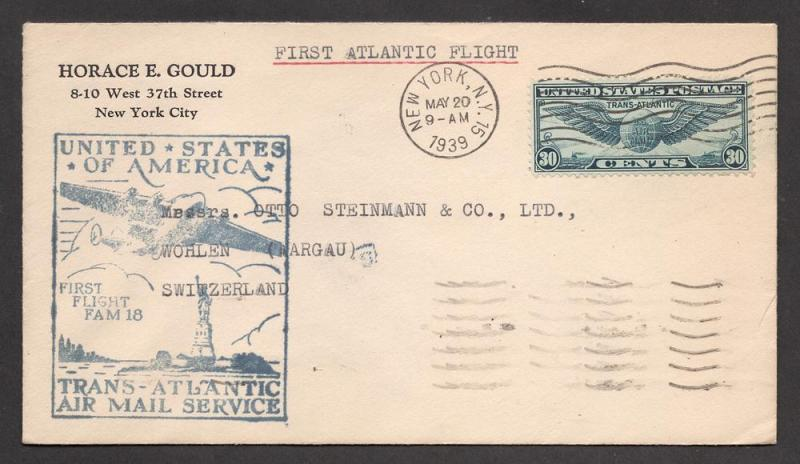 U.S. #C24 - Trans-Atlantic Clipper First Flight Cover(FAM)18