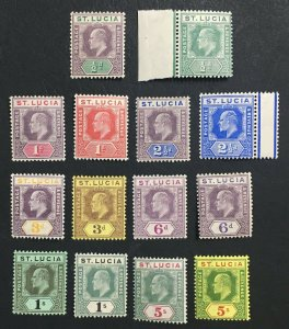 MOMEN: ST LUCIA SG #64-77 1904-10 MINT OG H LOT #61576