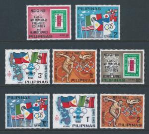 Philippines #MICHEL XVI-XXIII NH Summer Olympics, Mexico 1968-8 Vals.