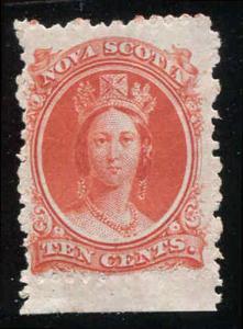 Nova Scotia Canada Sc #10¢ Vermilion Bottom Sheet Margin MNH
