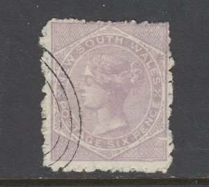 New South Wales SG 234, used. 1885 6p pale lilac QV, perf 10, plate flaw @ LR