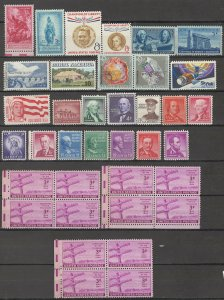 COLLECTION LOT # 3807 UNITED STATES 24 STAMPS + 3 BLOCKS OF 4 MNH/MH 1938 FV=$2+