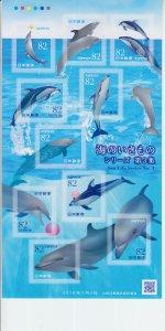 2019 Japan Marine Life III Dolphins MS10 SA (Scott NA) MNH