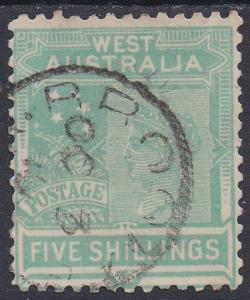 WESTERN AUSTRALIA 1905 QV 5/- WMK CROWN/A USED