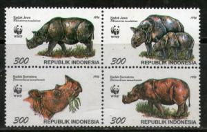 Indonesia MNH Block 1673 Java & Sumatra Rhinoceros WWF 1996