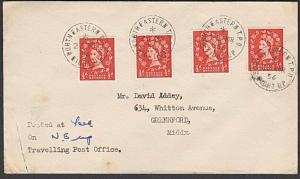 GB 1956 cover NORTH EASTERN TPO / NIGHT UP railway cds.....................57413