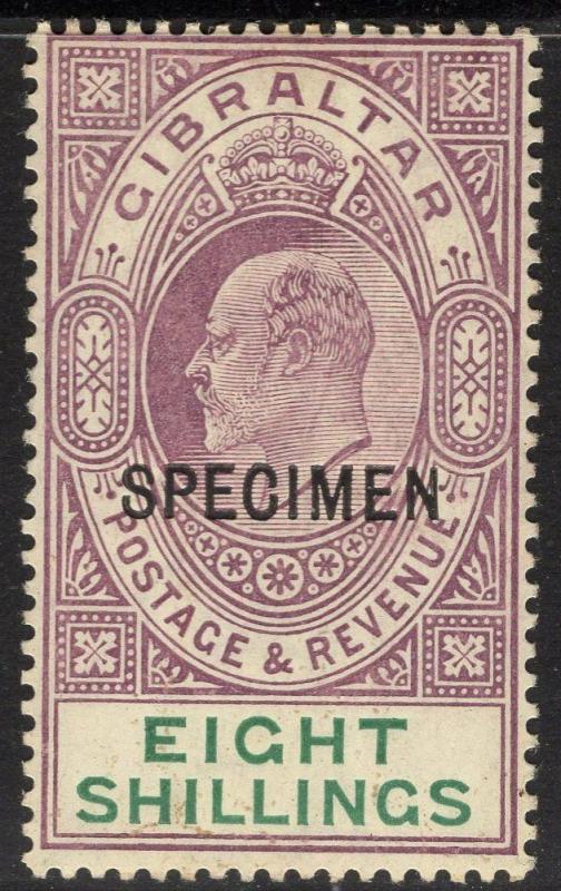 GIBRALTAR SG74s 1911 8/- PURPLE & GREEN SPECIMEN MTD MINT