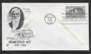 US #1198 Homestead Act Artcraft cachet unaddressed fdc