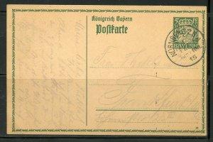 GERMANY BAVARIA NUREMBERG 2/1/1915 STATIONERY POSTCARD TO FRANKFURT AS SHOWN