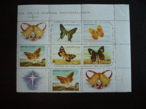 Stamps - Cuba - Scott#700a - MNH Block of 6 Se-Tenant Stamps with 3 Labels