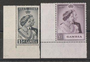 GAMBIA : 1948 KGVI Silver Wedding set 1½d & £1. MNH **.
