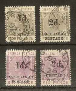 Grenada 1892 Dues Surcharges SG.D4-D7 Fine Used