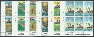 TOKELAU 1982 Fishing set imprint blocks of 6 MNH.........................41472