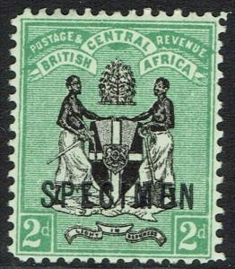 BRITISH CENTRAL AFRICA 1896 ARMS 2D SPECIMEN WMK CROWN CA