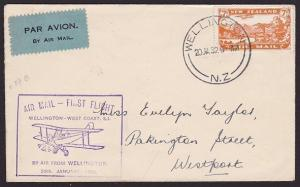 NEW ZEALAND 1932 West Coast survey flight cover Wellington to Westport......2385