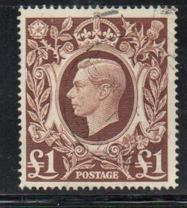 Great Britain Sc 275 1948 £1 red brown George VI stamp used