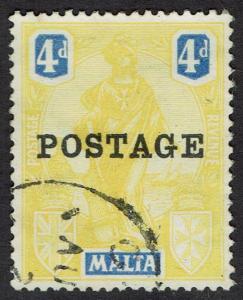 MALTA 1926 POSTAGE OVERPRINTED FIGURE 4D USED