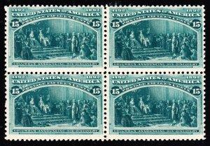 US 238 15c Columbian Exposition Mint Block of 4 F-VF OG H/ NH SCV $1850