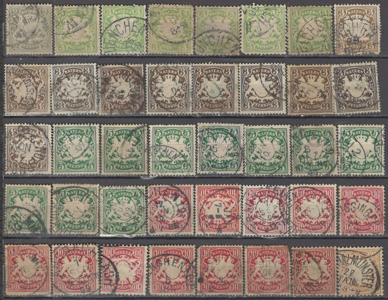 COLLECTION LOT # 1203 BAVARIA 40 UNCHECKED STAMPS 1876+ CV+$29