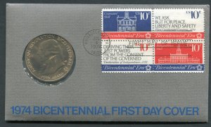 #1542-6  FIRST DAY COVER WITH COMMEMORATIVE MEDAL