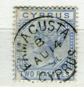 CYPRUS; 1882 early classic QV Crown CA issue fine used 2Pi. value Famagusta
