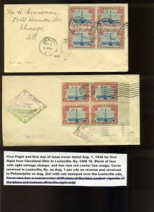 3 Scott #C11 Beacon Horizontal Line Block First Day Rate 8/1/28 Covers (Lot 601)