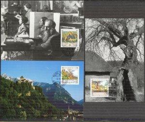 Liechtenstein 1996 Art Paintings Landscapes Architecture 3 Maxi Cards FDC