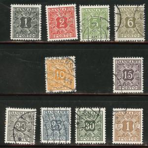 DENMARK  Scott j25-j37 short set used postage dues