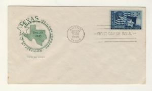 US - 1945 - Scott 938 FDC 3c Texas Statehood (unsigned Cachet)